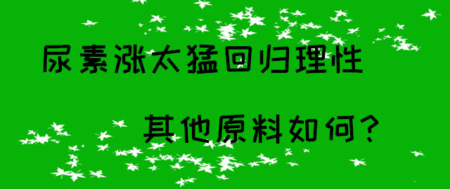 【中肥通讯社】尿素涨太猛回归理性 其他原料如何?